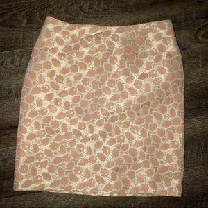 Pink/Gold Metallic Printed Pencil Skirt